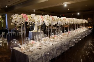A gorgeous head table for a stunning couple, courtesy of The Fleuriste in OKC!