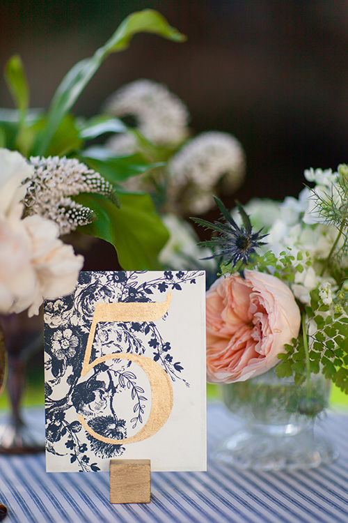 Navy and Gold Table Number